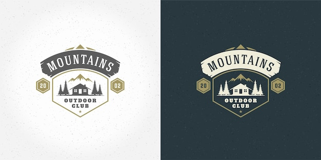 Bosque camping logo emblema vector verano camping ilustración montañas con cabaña y pinos