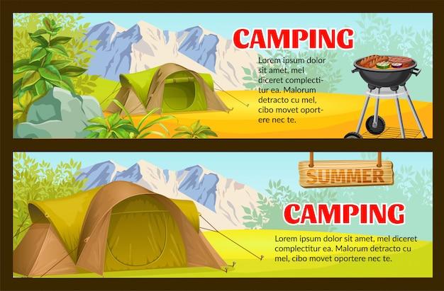 Bosque de camping con plantilla de banner tienda turística