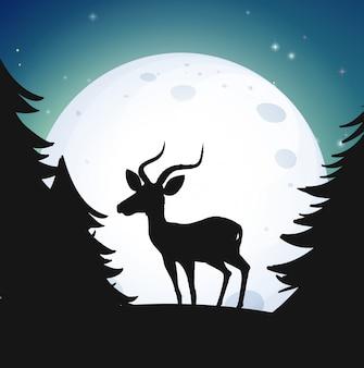 Bosque de silueta y ciervos en la noche