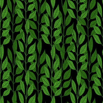 Bosque deja de patrones sin fisuras sobre fondo negro.