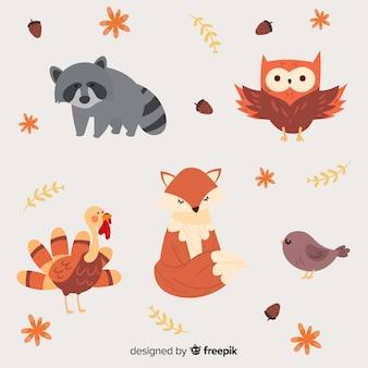 Bosque dibujado a mano colección animal estilo