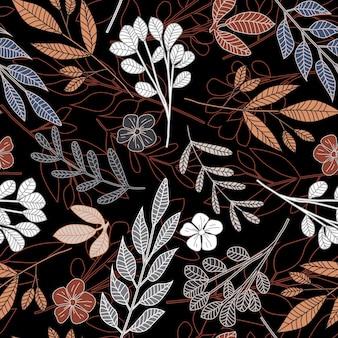 Bosque dibujado a mano hojas de patrones sin fisuras. resumen floral fondo de pantalla sin fin.