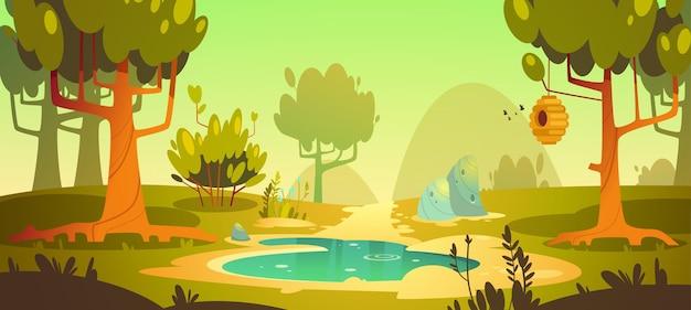 Bosque de dibujos animados con pantano y sendero
