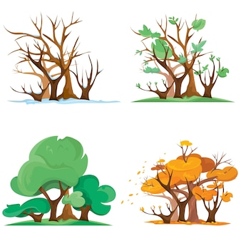 Bosque en diferentes épocas del año. ilustración de cuatro estaciones en estilo de dibujos animados.