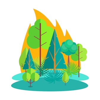 Bosque envuelto en fuego aislado ilustración