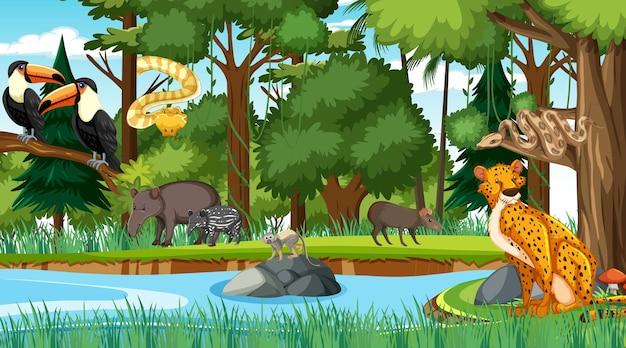 Bosque en escena diurna con diferentes animales salvajes.