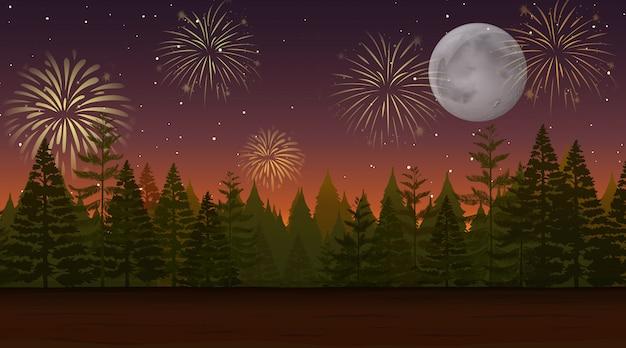 Bosque con escena de fuegos artificiales de celebración