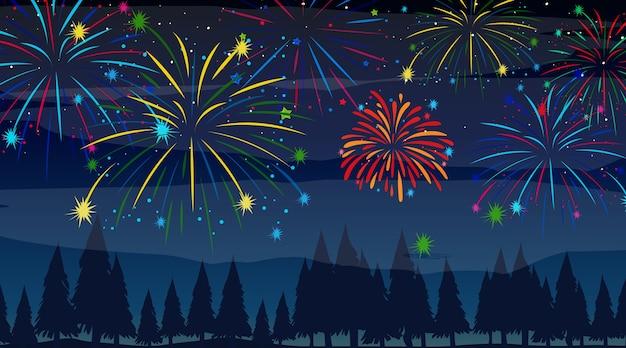 Bosque con escena de fuegos artificiales de celebración.