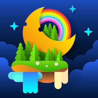 Bosque de hadas de la noche. luna en el cielo con un arco iris y estrellas. vector