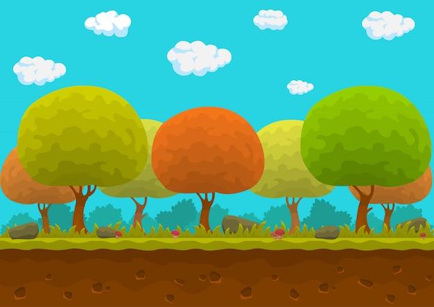 Bosque inconsútil de dibujos animados paisaje