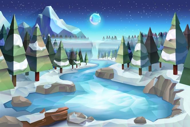 Bosque de invierno, estilo de baja poli de ilustración vectorial