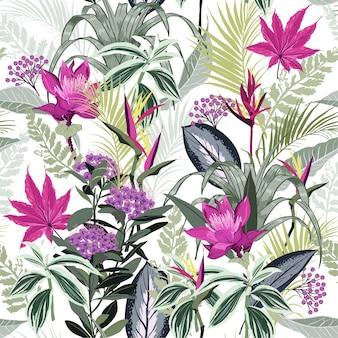 Bosque lleno de flor floreciente temporada de patrones sin fisuras