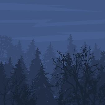 Bosque de niebla en el sombrío paisaje natural al aire libre de la noche de montaña bosque de temporada perenne