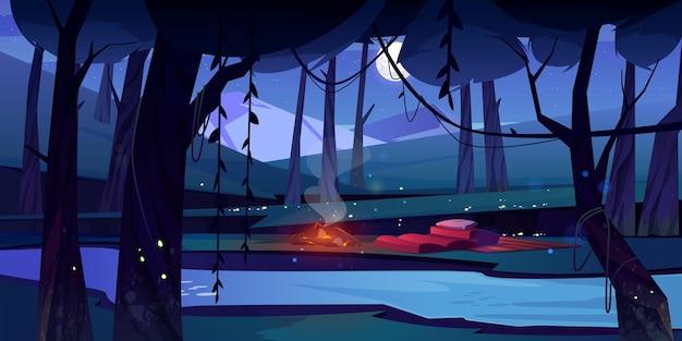 Bosque nocturno con fuego de campamento, río y montañas.