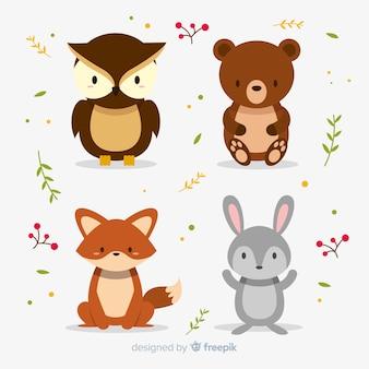Bosque de otoño animales diseño plano