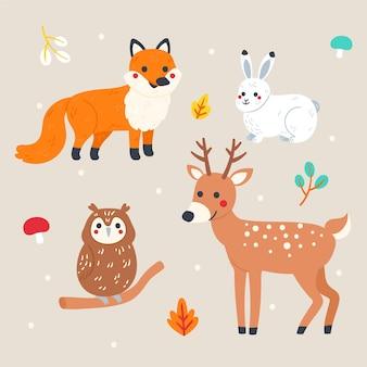 Bosque de otoño animales estilo dibujado a mano
