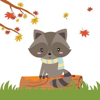 Bosque de otoño en vector con lindo mapache