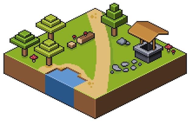 Bosque de paisaje isométrico de pixel art con árboles, camino, escenario de juego de pozo de agua