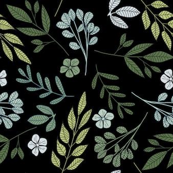 Bosque pequeñas flores y hojas de patrones sin fisuras. dibujado a mano papel tapiz floral sin fin.