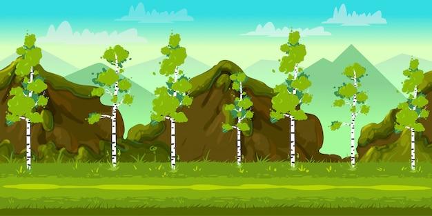 Bosque y piedras 2d juego paisaje para juegos