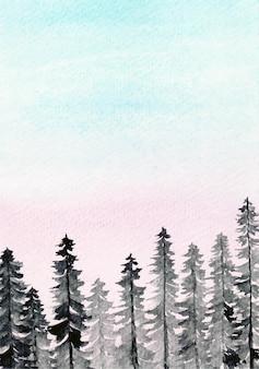 Bosque de pinos con fondo de acuarela de cielo de algodón de azúcar