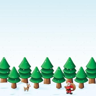 Bosque de pinos con ilustración de fondo nevadas del tema navideño