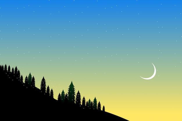 Bosque de pinos en la ilustración de pico alto vista a la montaña