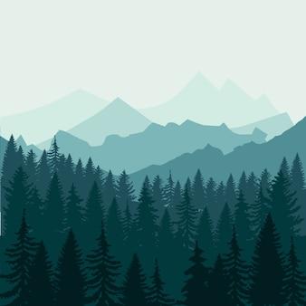 Bosque de pinos y montañas