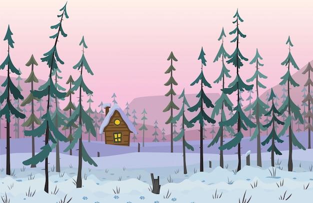 Bosque de pinos en el paisaje de colinas. ilustración vectorial
