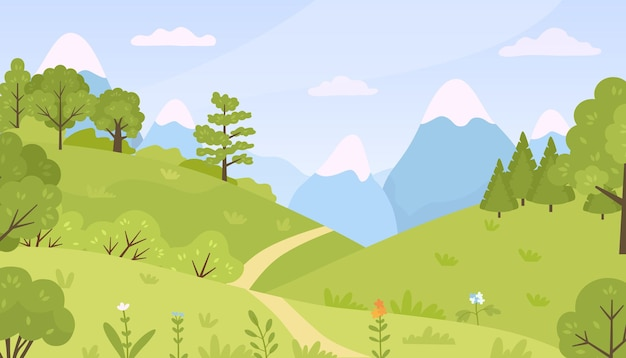 Bosque plano con paisaje de pradera, árboles, arbustos y montañas. naturaleza de colinas verdes de primavera de dibujos animados con fondo de vector de flores y plantas. verdor de primavera o verano con cielo azul