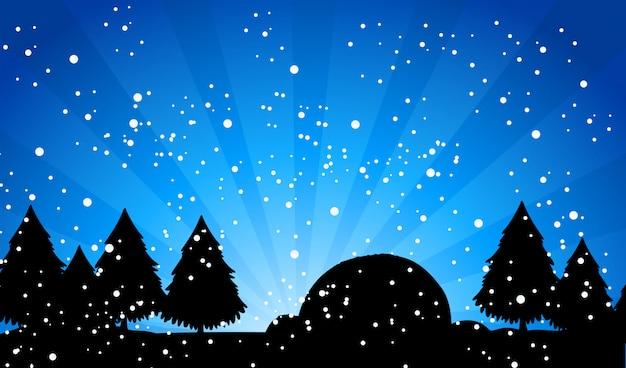 Bosque de silueta en la noche de nieve