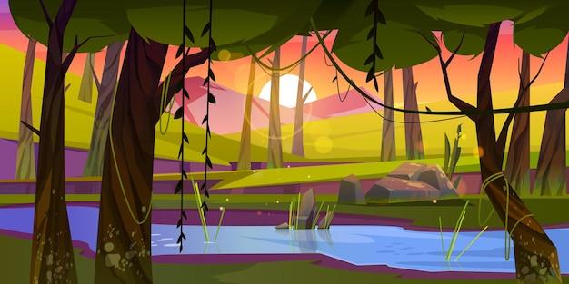 Bosque de verano con río y montañas al atardecer.