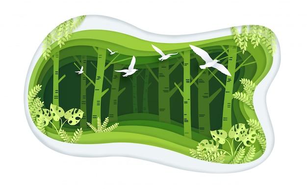 Bosque verde con diseño de arte en papel.