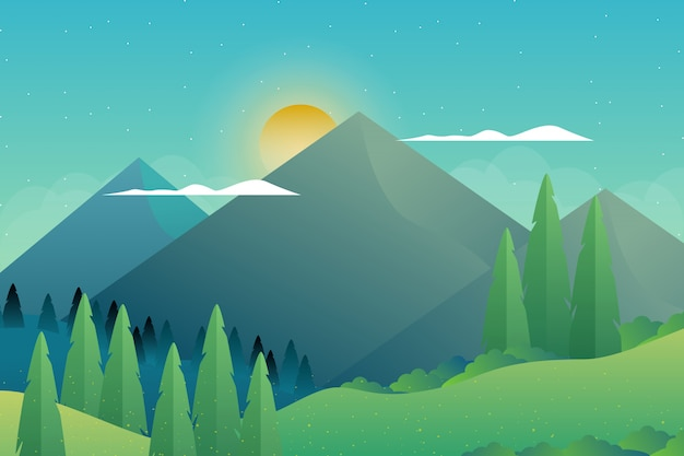 Bosque verde con ilustración de paisaje de montaña