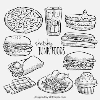 Bosqueja la colección de comida rápida