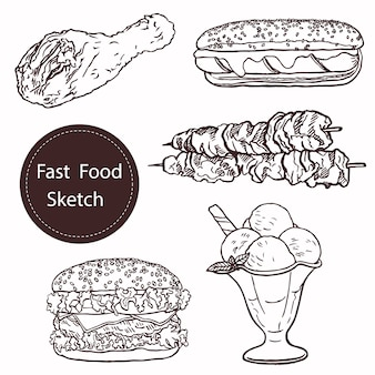 Bosquejo de alimentos dibujados a mano