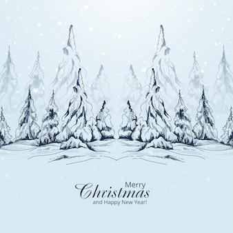 Bosquejo de árbol de navidad de paisaje dibujado a mano