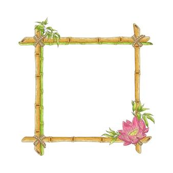 Bosquejo, bambú, marco, con, flor de loto