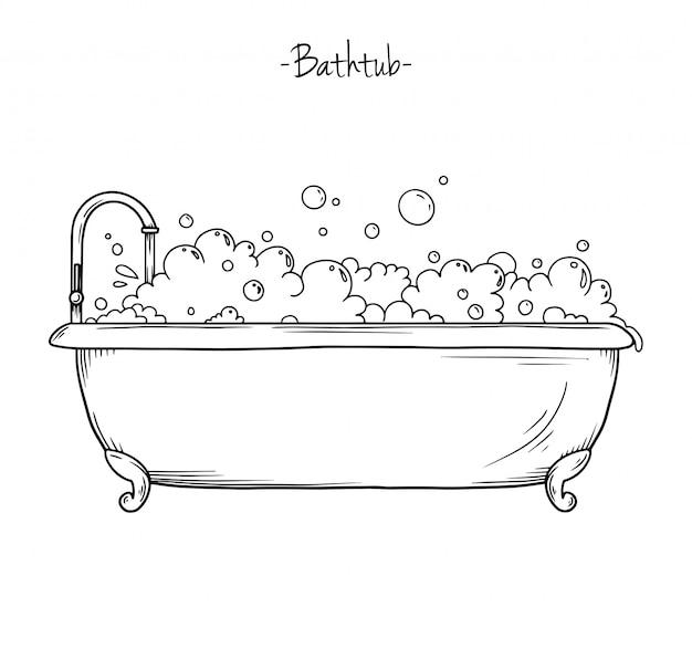 Bosquejo de baño con grifo y espuma.