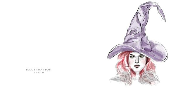 Bosquejo de una bruja con sombrero morado y cabello rojo.