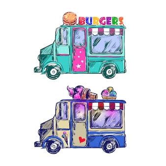 Bosquejo de camión de comida