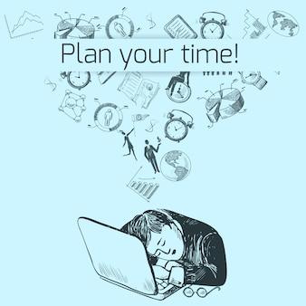 Bosquejo del cartel de gestión de tiempo