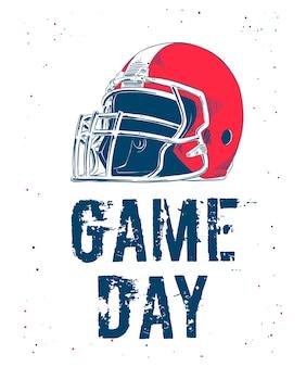 Bosquejo del casco de fútbol americano con tipografía.