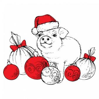 Bosquejo de cerdo en el sombrero de santa claus con bolas de navidad.