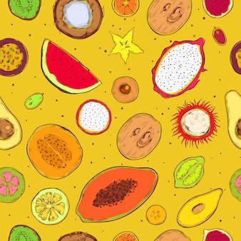 Bosquejo coloreado productos exóticos de patrones sin fisuras