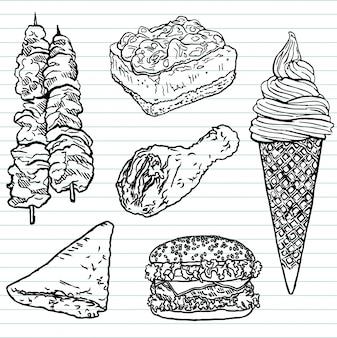 Bosquejo de comida rápida dibujado a mano