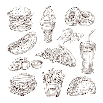 Bosquejo de comida rápida.