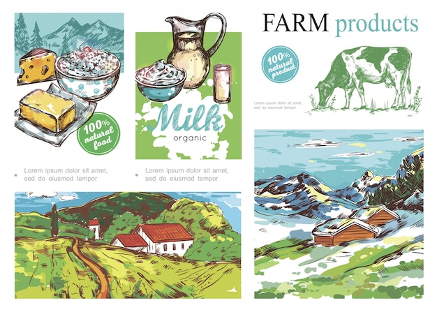 Bosquejo composición colorida granja con productos lácteos vaca verano e invierno paisajes rurales