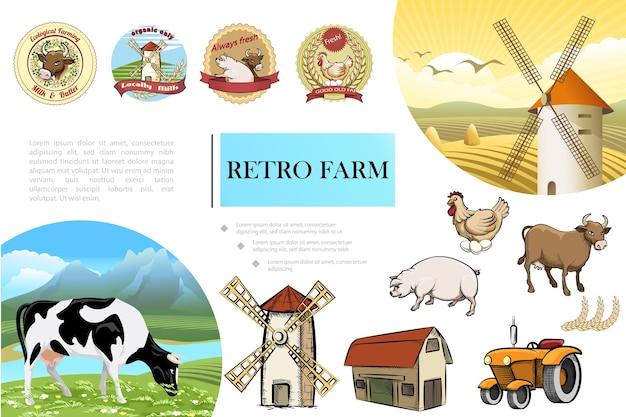 Bosquejo de la composición de la granja retro