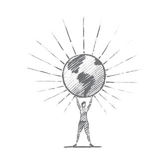 Bosquejo del concepto de planeta tierra dibujado a mano